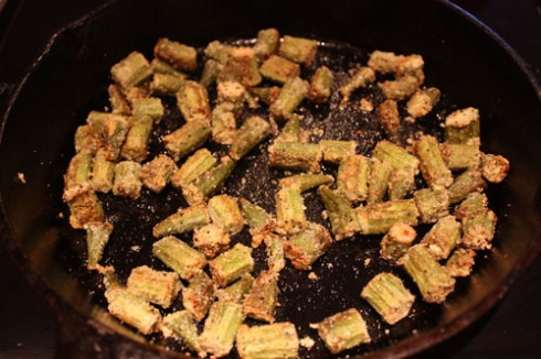 Okra in skillet, after