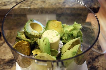 avocado in food processor