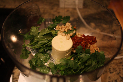 pesto ingredients in food processor