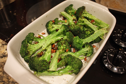broccoli and pine nuts
